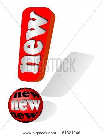 Label for new products in shape 3D exclamation mark with inscription new and shadow