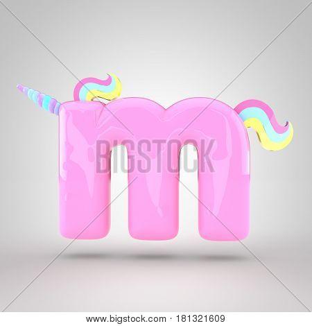 Cute Unicorn Pink Letter M Lowercase