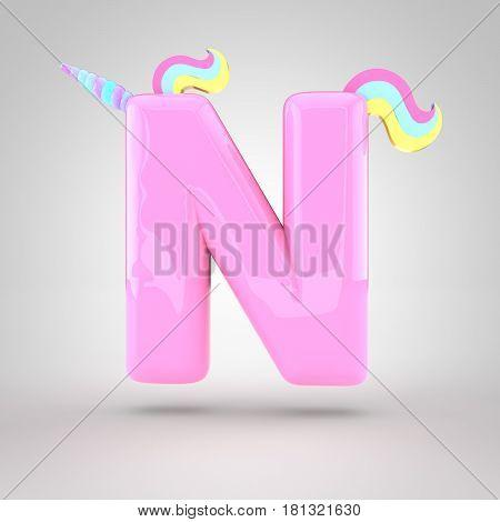 Cute Unicorn Pink Letter N Uppercase