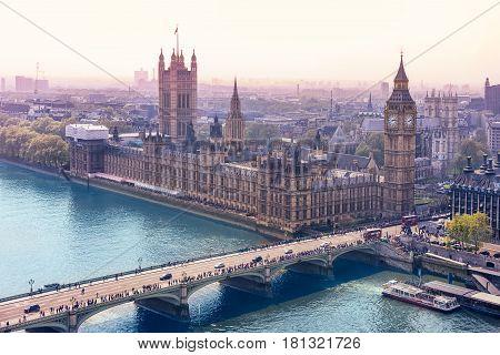 Skyline panorama from the London Eye England