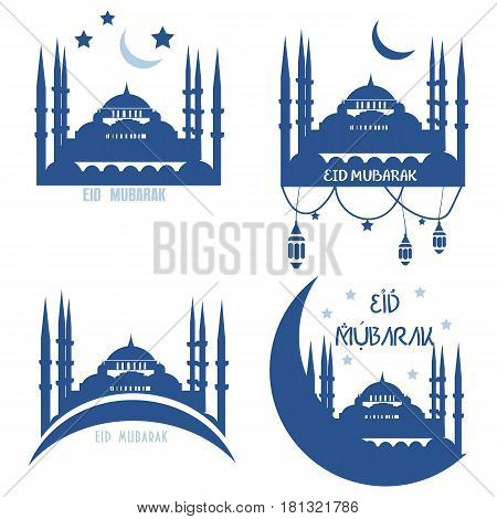 Set of Muslim Community Vector greetings cards. Eid al-Adha, Eid ul-Adha mubarak. Kurban Bayrami, Kurban Bajram muslim festival of sacrifice. Could be also used as Eid al-Fitr greetings.
