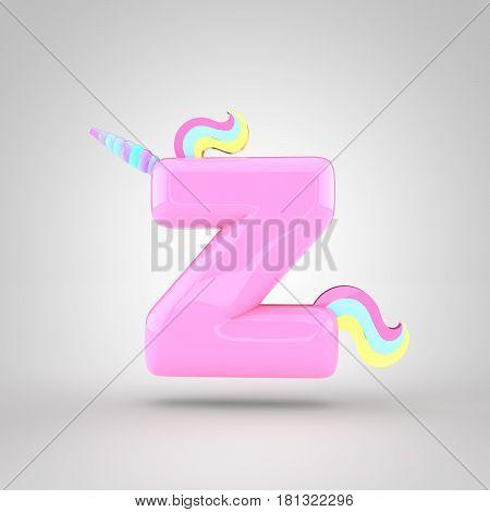 Cute Unicorn Pink Letter Z Lowercase
