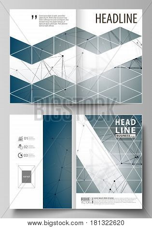 Business templates for bi fold brochure, magazine, flyer, booklet or annual report. Cover design template, easy editable vector, abstract flat layout in A4 size. DNA and neurons molecule structure. Medicine, science, technology concept. Scalable graphic.
