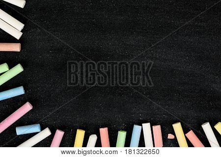 blank chalkboard with colorful chalk for backgrounds