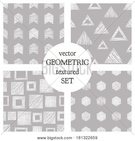 Set Of Seamless Vector Geometrical Patterns With Triangles, Circle, Squares. Grey Pastel Endless Bac