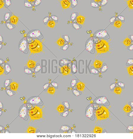 Vector Seamless Pattern With Insect Hand Drawn Outline Decorative Endless Background With Cute Drawn