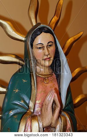 Statue of Mary Mother of God in a small Mexican chapel