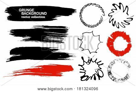 Set of hand drawn brushes and design elements. Black paint, ink brush strokes, splatters. Artistic creative shapes. Vector illustration. Black and red