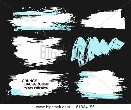 White and blue brush strokes on a black background, ink brush strokes, brushes, lines. Dirty artistic design elements, boxes, frames