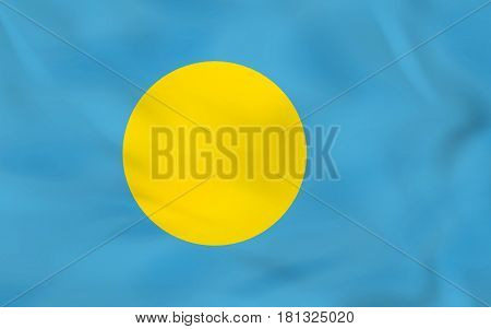 Palau Waving Flag. Palau National Flag Background Texture.