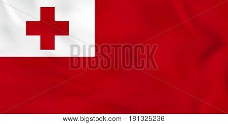 Tonga Waving Flag. Tonga National Flag Background Texture.