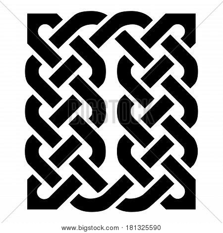 Celtic style rectangle  type element based on eternity knot patterns in black on white background  inspired by Irish St Patricks Day, and Irish and Scottish carving art