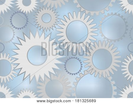 Techno background with the composition gear wheels in blue and gray metal design