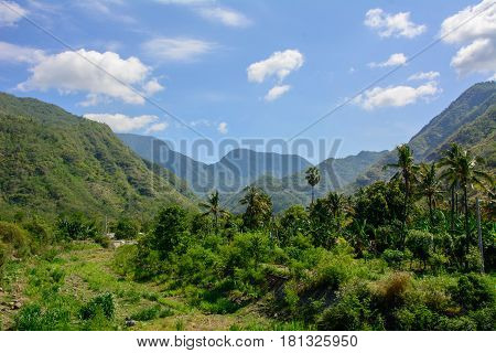Mountains in the village of Amed on the Bali island, Indonesia