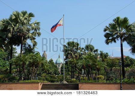 Flag of Philippines in intramuros in Manila