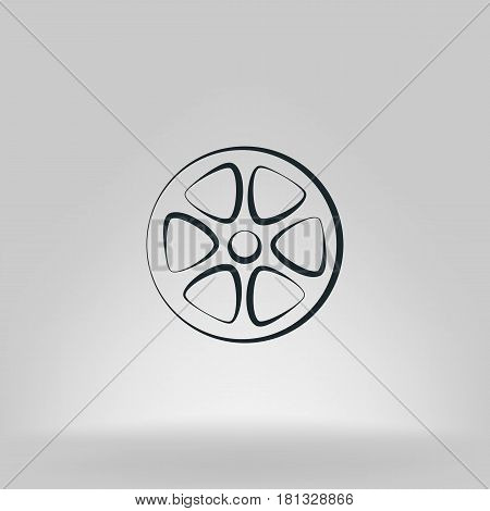 Flat Paper Cut Style Icon Of Old Tape Spool