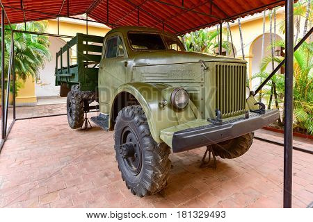 Trinidad Cuba - January 12 2017: Soviet truck in the National Museum in the Fight Against Bandits.