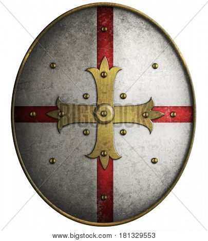 Oval medieval shield with cross 3d illustration