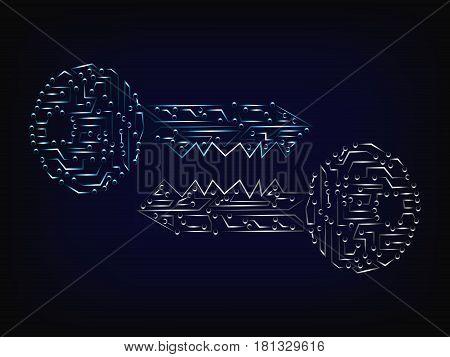 Matching Cyber Microchip Keys Vector