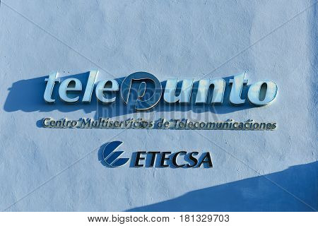 Trinidad Cuba - January 12 2017: Logo for ETECSA the Cuban Telecommunications monopoly on phone and internet service.