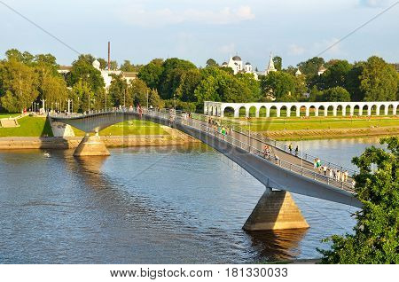 Veliky Novgorod Russia - birds eye view of Yaroslav Courtyard and footbridge across the Volkhov river. Architecture landscape of Veliky Novgorod Russia