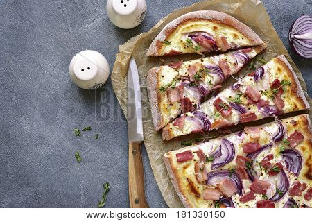 Tarte Flambee - Traditional Rustic French Pie.top View.
