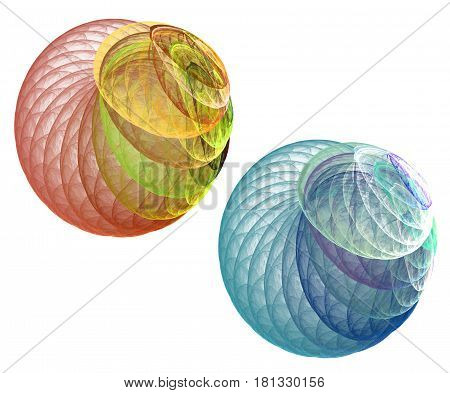 Fractal and abstract colorful balls on white