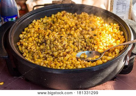 Cooking Corn Kernels.
