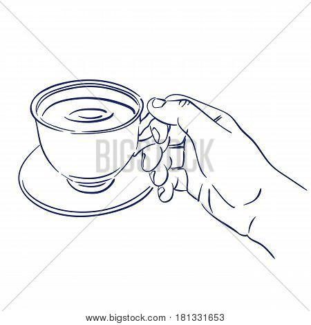 doodle hand drawn sketch cup of fragrant coffee in hand