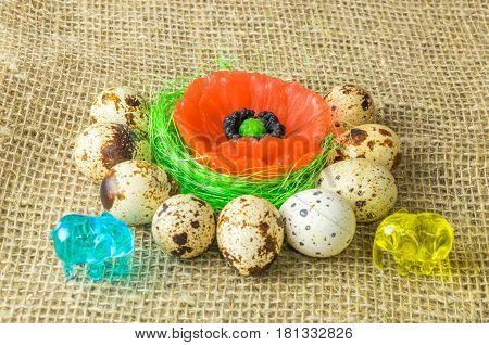 two elephant yellow and blue poppy lies on the filler sisal green light green color surrounded by quail eggs on a wooden table covered with burlap