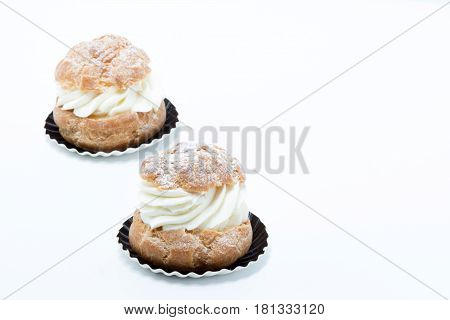 Choux A La Creme Pastry Delicious Isolated In White Background