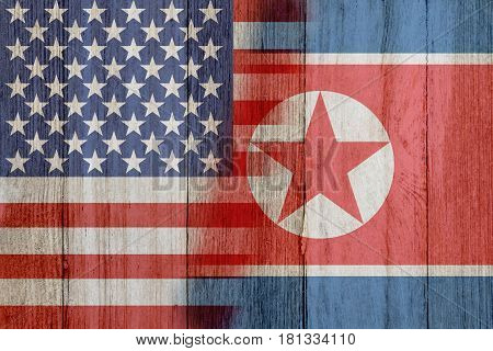 Relationship between the USA and North Korea The flags of USA and South North merged on weathered wood 3D Illustration