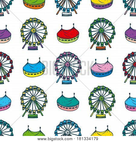 Simple Seamless Pattern with Circus and Ferris Wheel on a White Background