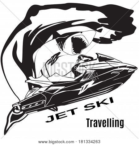 Vector black and white illustration of water scooter waves and shark isolated. Jet ski rental template in flat style.