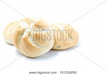 Mini Crusty Star Format Bread Isolated In White Background