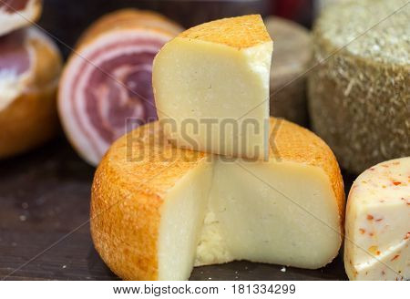 Italian different traditional ham and cheese at the store