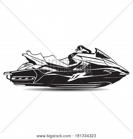 Vector illustration of water scooter isolated on white background. Black and white jet boat in flat style.