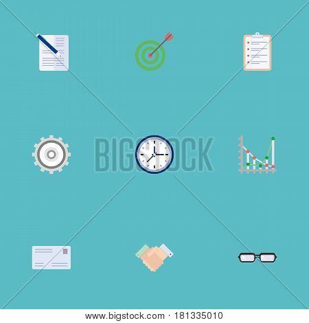 Flat Clock, Cogwheel, Envelope And Other Vector Elements. Set Of Job Flat Symbols Also Includes Task, Clock, Handshake Objects.