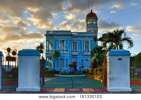 Cienfuegos Cuba - January 11 2017: Hotel Palacio Azul an ecletic style palace in Cienfuegos Cuba.