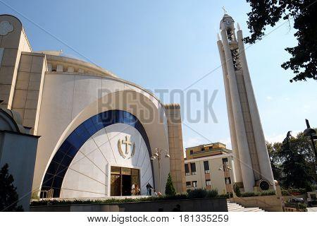 TIRANA, ALBANIA - SEPTEMBER 27: Orthodox Cathedral of the Resurrection of Christ in Tirana, Albania on September 27, 2016.