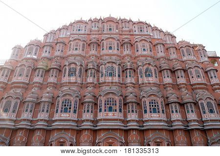 JAIPUR, INDIA - FEBRUARY 16: Hawa Mahal, Winds Palace in Jaipur, Rajasthan, India. Jaipur is the capital and the largest city of Rajasthan on February 16, 2016.