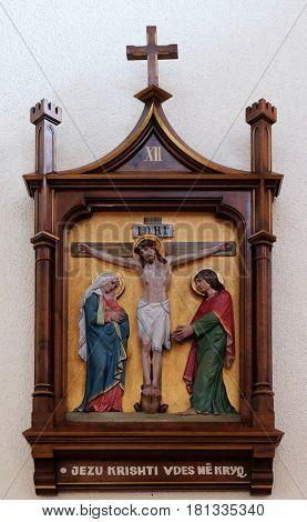 VAU I DEJES, ALBANIA - SEPTEMBER 30: 12th Stations of the Cross, Jesus dies on the cross, Mother Teresa cathedral in Vau i Dejes, Albania on September 30, 2016.