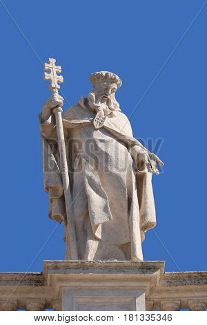 ROME, ITALY - SEPTEMBER 02: St. Peter Nolasco, fragment of colonnade of St. Peters Basilica. Papal Basilica of St. Peter in Vatican, Rome, Italy on September 02, 2016.