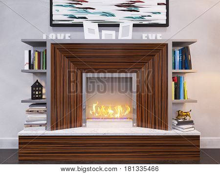 3d illustration of the interior design of the living room. The interior style of the apartment is modern in gray and white tones with accents of wood material. Decorating a wall with a ethanol bio fireplace and bookshelves