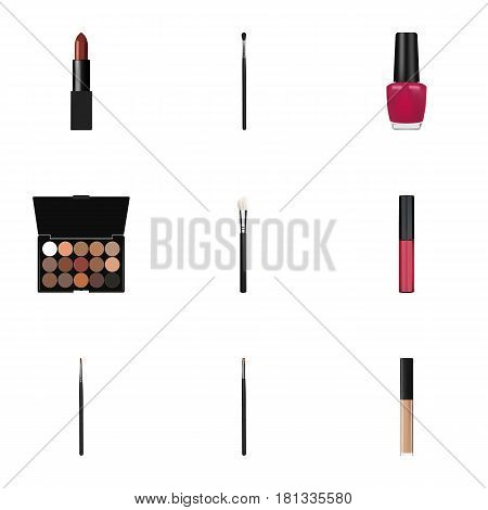 Realistic Contour Style Kit, Liquid Lipstick, Multicolored Palette And Other Vector Elements. Set Of Maquillage Realistic Symbols Also Includes Polish, Pomade, Face Objects.