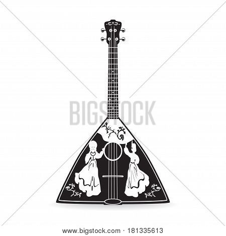 Vector illustration of traditional russian balalaika with dancing women silhouettes isolated on white background. Folk musical instrument black and white flat style design.