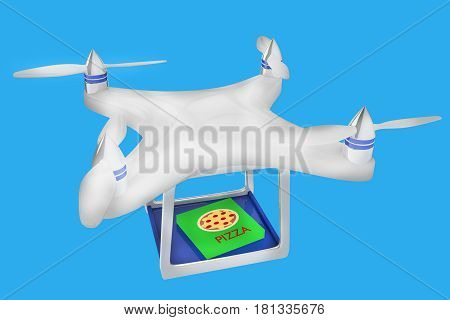 3D Render Illustration Of Drone Carrying Italian Pizza