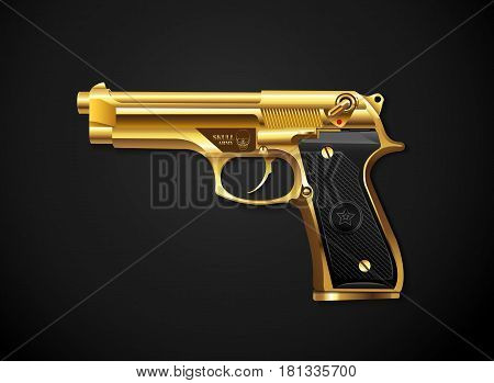 gun gold on background vector realistic style illustration