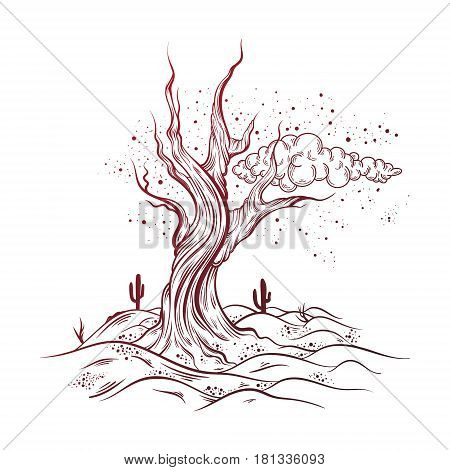 Vector hand sketched illustration of deserted landscape with dead tree. Realistic artwork made in hand drawn style. Template for card poster banner print for t-shirt.