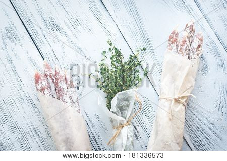 Fuet Sausages In Wrapping Paper